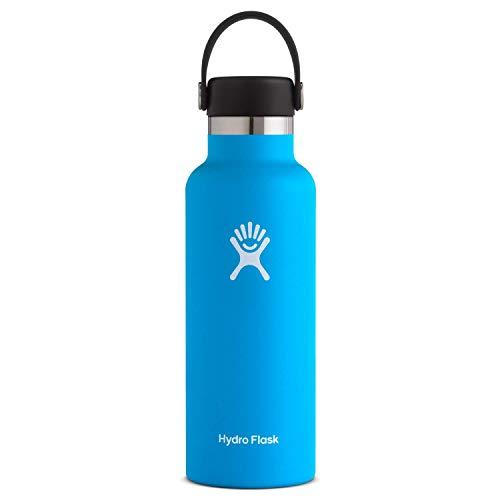 Hydro Flask Trinkflasche 532ml (18oz), Edelstahl und vakuumisoliert, Standard-Öffnung mit auslaufsicherem Flex Cap, Pacific