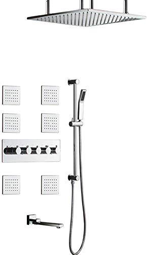 Juego de ducha empotrable termostático de pared con barra de elevación, bote de spray cuadrado de 500 mm, todo de cobre