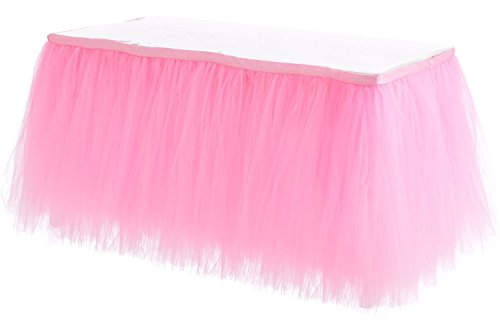 HBB Kids Handmade Tutu Tulle Table Skirt Cover for Girl Princess Birthday Party, Baby Shower, Slumber Party & Home Decoration-Beautiful, Eye Catching & Unforgettable Party Centerpiece, 1 yd, Pink