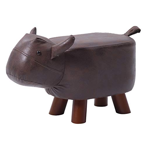 IBUYKE Animal Kids Ottoman, Children Footrest Stool, Cartoon Pouffe Step Stool, Creative&Cute Chair Gifts for Kids, Sturdy&Firm Solid Wood Support, for Nursery, Bedroom, PlayRoom(Brown Cow), URF-BD166