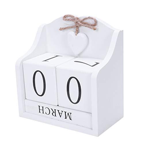 XZANTE 2019 Calendario Perpetuo Bloque de Madera DIY Creativo Calendario Estatuillas de Escritorio Calendario de Madera Regalo Decoración de Oficina Casa de Moda -Blanco