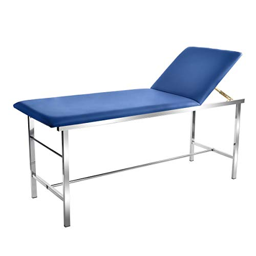 """AdirMed Reliable & Comfortable Medical Exam Table - Built In Paper Towel Dispenser - Durable 2"""" Foam Padding - Powder Coated Steel Frame - Adjustable Backrest - Up to 440lbs - Easy To Clean (Blue)"""