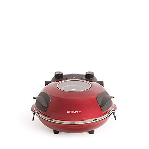 CREATE IKOHS Pizza Maker – Forno elettrico per pizza, base in pietra speciale per cucinare pizza, 31 cm di diametro, 1200 W, temperatura fino a 350°, livelli di potenza 5, con timer (rosso)