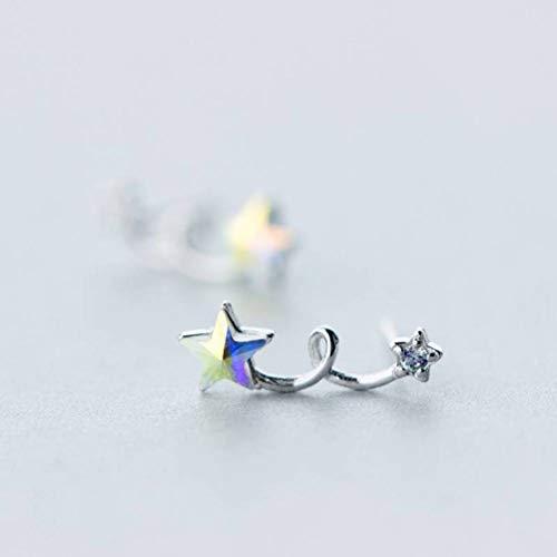 WOZUIMEI S925 Pendientes de Plata Pendientes de Estrella Pequeña de Diamantes de Moda Femenina Pendientes de Estrella de Cinco Puntas de Diamantes de Color DulceUn par