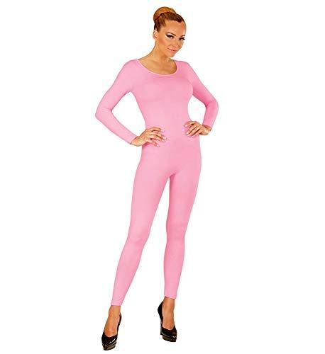 shoperama Damen Bodysuit Langarm Ballett Flamingo 80er Jahre Disco Tänzerin Kostüm-Zubehör Karneval Fasching Overall Catsuit Jumpsuit, Farbe:Rosa, Größe:S/M