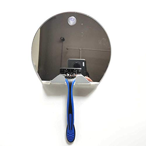 Direct Suction Shower Shaving Mirror with Razor Holder Round Portable Unbreakable Anti-fog Shower Mirror for Bathroom or Shower