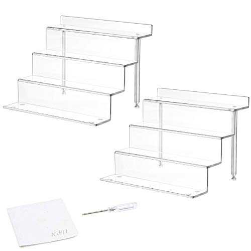 NIUBEE 2 Pack Acrylic Riser Display Shelf for Amiibo Funko POP Figures, Cupcakes Stand for Cabinet, Countertops, Clear (Small)