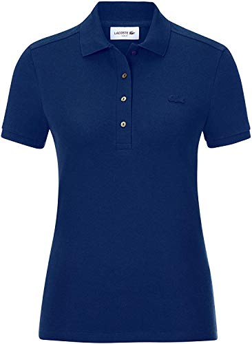 Lacoste Damen PF5462 Polo Shirt Kurzarm, Frauen Polo-Hemd,4 Knopf, Regular Fit,Methylene(F9F),36 EU (36)