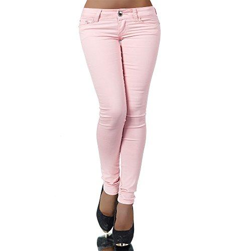 H937 Damen Jeans Hose Hüfthose Damenjeans Hüftjeans Röhrenjeans Röhrenhose Röhre, Größen:40 (L), Farben:Rosa