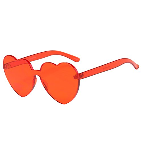 OULII Óculos de sol multicoloridos em formato de coração para festa na praia, Vermelho, 5.6 x 5.3 x 2.2 inches
