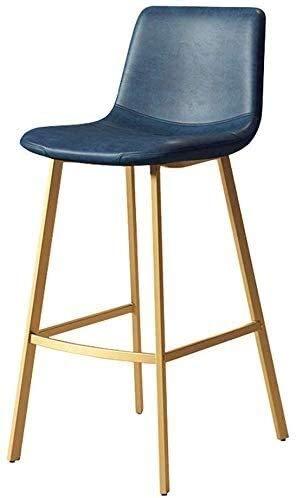Taburete para piernas Bar Taburetes Silla de barra Moderna Cocina Counter Bar Taburete Azul Faux de cuero Asiento tapizado Silla de comedor Silla de silla de mesa de metal dorado Piernas Altura de asi