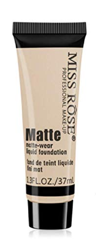 Miss Rose Matte Face Liquid Foundation,Cream Concealer Primer Waterproof Full Coverage Foundation Matte Wear Concealer,Women Girls Makeup Foundation Liquid (BEIGE 1)