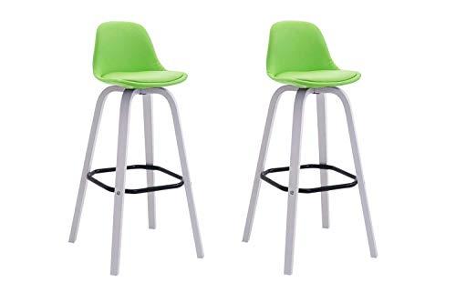 CLP 2er Set Barhocker Avika Mit Kunstlederbezug I 2 x Barstuhl Mit Holzgestell Und Rückenlehne, Farbe:grün, Gestell Farbe:Weiß