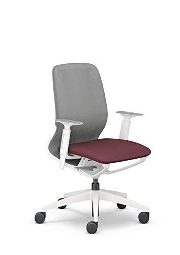 Sedus se:Motion Net, ergonomischer Bürostuhl fürs Homeoffice, individuell anpassbar, Schwarz-Rot, Gestell: Lichtgrau