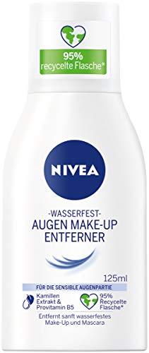 NIVEA Wasserfester Augen Make-Up Entferner (125 ml), sanfter Make-Up Entferner mit Kamillen-Extrakt und Provitamin B5, entfernt selbst wasserfeste Mascara und Make-Up