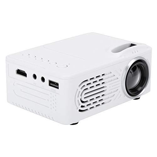 Hopcd Mini-LED-Projektor, 1080P HD-Heimkino-Beamer, tragbarer Media Player-Projektor mit 25-80-Zoll-Projektion, Unterstützung der Kopfhörerbuchse AV/USB/HDMI/3,5 MM(Weiß EU)