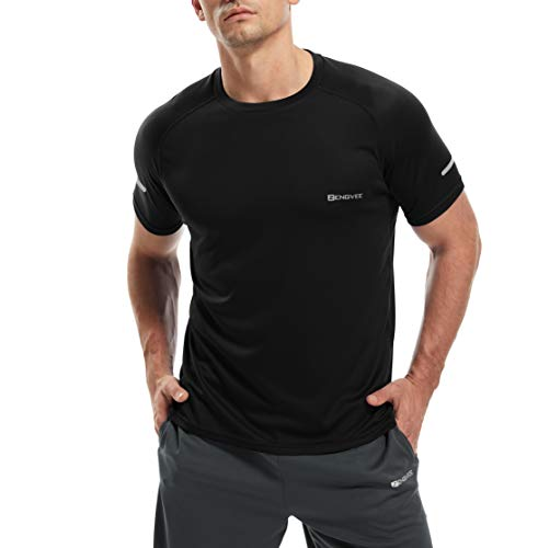HUAKANG 3 Pack Sport Shirts Men Breathable Cool Dry Running Tops Short Sleeve Gym Tops for Men