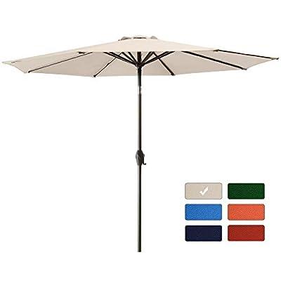 Bumblr 10Ft Patio Umbrella Outdoor Market Umbrella with 8 Sturdy Ribs,Wing Vent,Push Button Tilt & Crank (10 Ft, Beige)