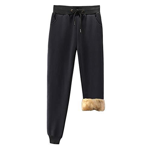 Duyang Women's Warm Sherpa Lined Sweatpants Athletic Jogger Harem Pants (2 Black, S)