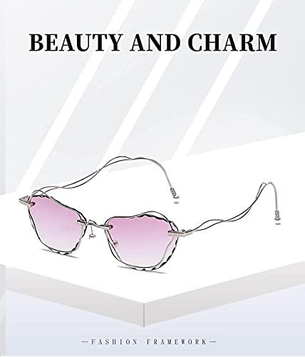Las nuevas gafas de sol retro de la manera de la perla del modelo sin marco de la personalidad femenina de la calle tiro cóncavo forma de, C56,