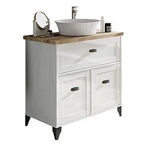 Pitarch Mueble baño Vintage Cottage Color Blanco Alto Brillo y Cambrian con Lavabo encimera cerámico 82×47 Sin Espejo