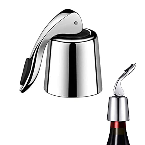 ZHjuju Tapón de Botella de Vino, tapón de Botella de Vino de Acero Inoxidable Protector de Vino Reutilizable Protector de Botella de Bebida con Bomba de presión incorporada Mantiene el Vino Fresco.