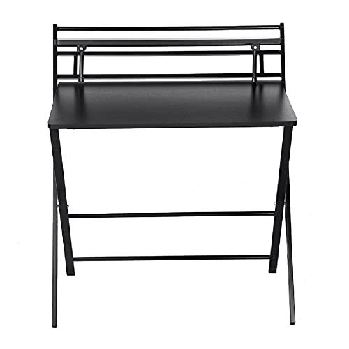 Lzcaure Escritorio de computadora plegable mesa de estudio de escritura de estudiante con estante de almacenamiento mesa de trabajo Morden portátil mesa para el hogar oficina dormitorio