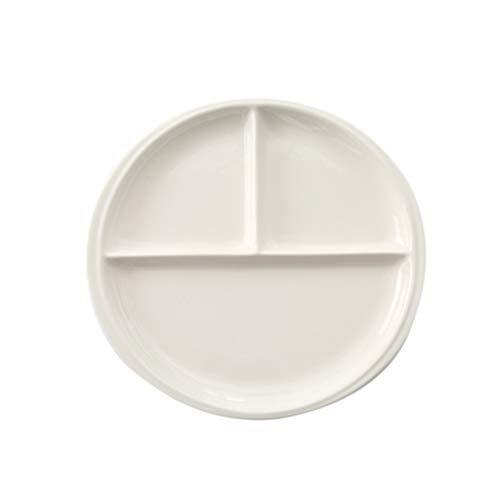 Cabilock Plato de Dieta Dividido Plato de Adelgazamiento Platos de Cerámica Redondos para Un Fácil Control de Las Porciones | Bellamente Diseñado con Ideas de Alimentos para Una Pérdida de