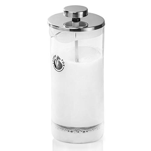 Coffee Fox Milchaufschäumer aus Glas - Manueller Milchschäumer & French Press Milchschaum 450 ml