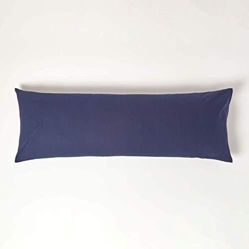 HOMESCAPES Taie de traversin 50x140 cm en 100% Coton égyptien 200 Fils Coloris Bleu Marine