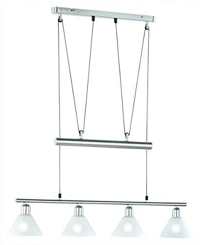 LED Pendelleuchte 4x4W hell höhenverstellbar 80-180 cm London 2700k 80cm nickel matt/Glas weiß