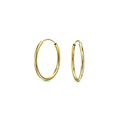 Minimalista pequeño sin fin real 14K oro aro pendientes para las mujeres para adolescentes .50