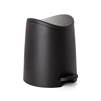 TATAY 4470027 - 3L Pequeño Cubo de baño con Apertura a Pedal, Negro, 19x22.1x0.41 cm