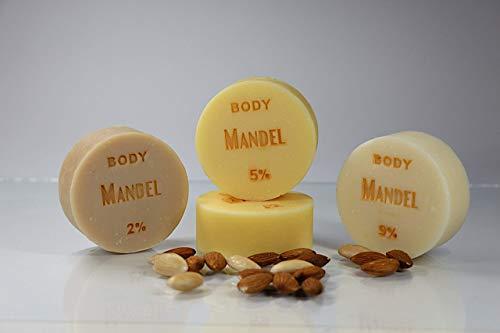 6,89 EUR/100 g - Mandelöl-Seife BODY ohne Duft von SEIFEN-EHLERT - 1 Stück: 45 g - vegane Seife, Naturseife, Duschseife, Handseife, Körperseife mit Bio-Ölen