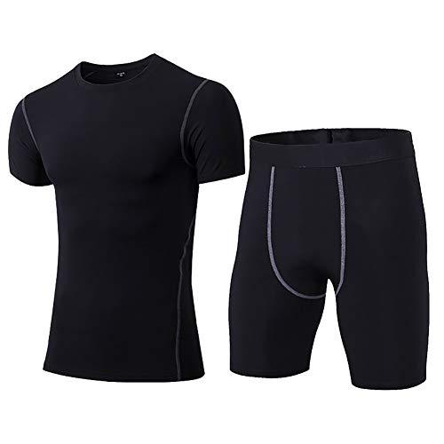 Daoba 2 Piezas Secado Rápido Conjunto Compresión Ropa Deportiva Manga Corta Pantalones Cortos Hombre para Correr, Ejercicio,Gimnasio