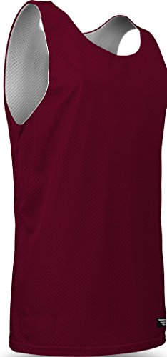 Game Gear Reversible Mesh Jersey, Basketball/Gym/Soccer Tank Top for Youth (13 Colors) AP993Y Maroon/White