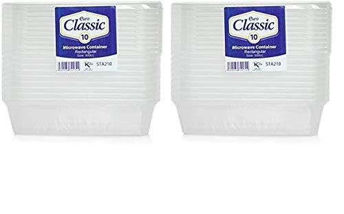 Lot de 20 boîtes alimentaires en plastique avec couvercles - Résistantes - Transparentes - 500 ml