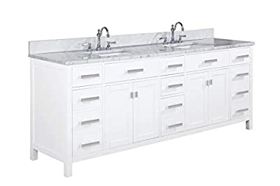 "Design Element V01-84-WT Valentino 84"" Pre-Assembled Double Bathroom Vanity Set in White-Comes with Marble Countertop and Porcelain Sink"
