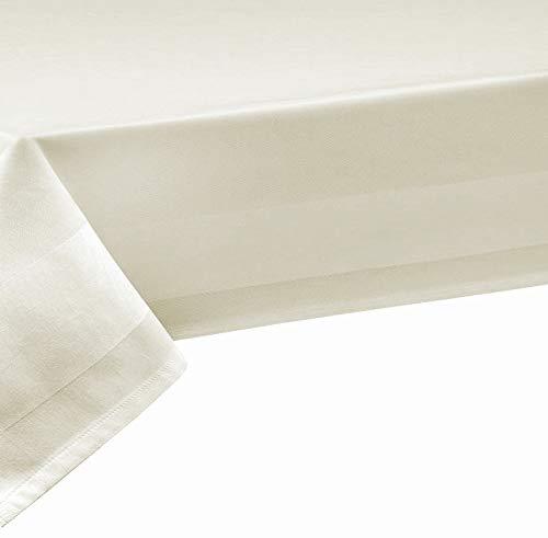 DecoHome Textil Nappe 100% coton damassé - largeur 140 cm, longueur au choix (nappe au mètre), rectangulaire, blanc, Coton, champagne, 130 x 370 cm