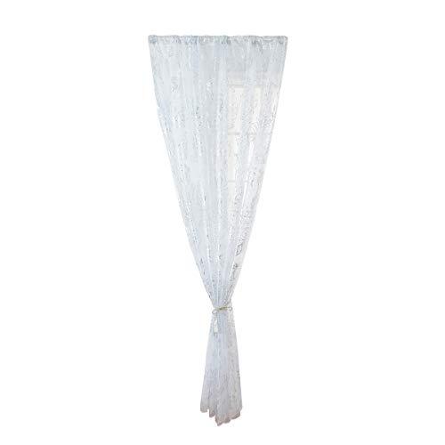 Vosarea - Cortina de gasa con pluma bronce, decorativa, tul, para salón o dormitorio, 100 x 200 cm, poliéster, plata, 200 x 100cm