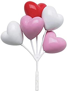 DECOPAC Red, White, Pink Heart Shaped Balloon Clusters - 6 pcs