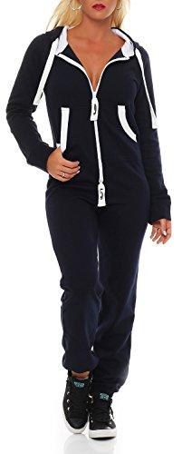 Damen Jumpsuit Jogger Jogging Anzug Trainingsanzug Einteiler Overall 9t5 dunkelblau L