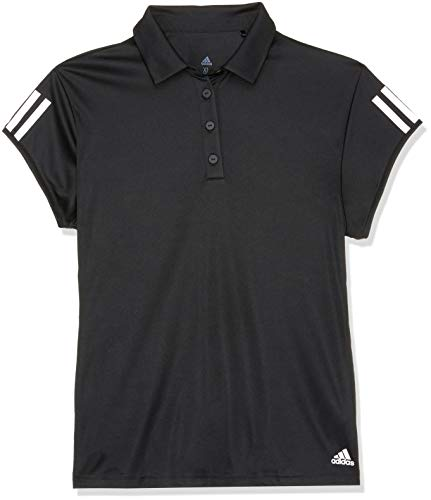 adidas Damen Club 3 Stripes Kurzarm Polo-Shirt, Black, L