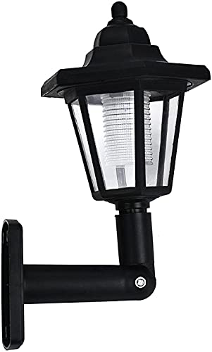Solar Light Outdoors - Solar Wall Lamp, Hexagonal Led Light, Wall-Mounted Vintage Wall Lamp, Landscape Deck Light for Garden Fence Yard (Black)