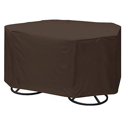 True Guard Patio Furniture Covers Waterproof Heavy Duty - Fits 4-Chair Dining Sets, Round/Square Table, Octagon Design, 600D Rip-Stop, Fade/Stain/UV Resistant for Outdoor Patio Furniture, Dark Brown