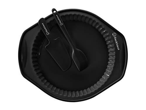 Backhaus Molde Redondo para Quiche y Tarta, Juego de Repostería de Silicona Platino Antiadherente con Espátula y Cuchillo de Pastel (Negro)