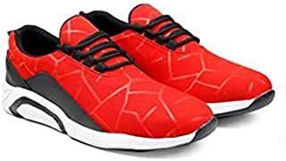 KT Traders Solid Reguler Mesh Lace-Up On Style for Easy Sport Shoes (KT Traders-9-Red-9)