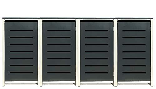 4 Tailor Mülltonnenboxen Basic Duo für 240 Liter Tonne/Stanzung 6 / Farbe RAL 7016 Anthrazit/Rahmen RAL 9006 hell Grau/Verschönern Sie Ihre unansehnliche Mülltonnen in Ihrem Hof und Garten!
