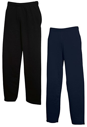 2er Set FRUIT OF THE LOOM Jogginghose S-M-L-XL-XXL Herren Jogpants L,1x Navy + 1x Schwarz