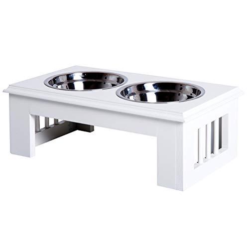 Pawhut Comedero Elevado para Perros con Soporte y 2 Cuencos Extraíbles de Acero Inoxidable Alimentador para Mascotas Alimento y Agua 44x24x15 cm Blanco